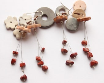 Dangling earrings, red Jasper, semi-precious gemstone, Pearl terracotta Brown flower