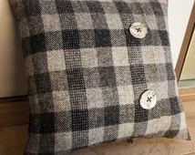 Harris Tweed pillow with Orkney porcelain buttons