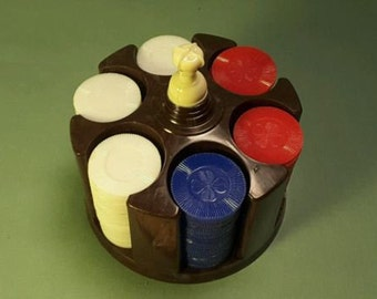 Bakelite Brown Marble Mini Poker Rack With 150 Chips 1960's