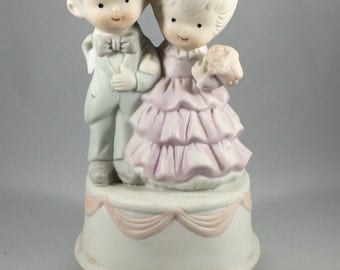 Children at Prom Dance - Mann Music Box Vintage - As Is, Some Damage