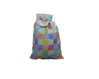Large Patchwork Handmade Reusable Fully Lined Drawstring Ribbon Cloth Gift Bag