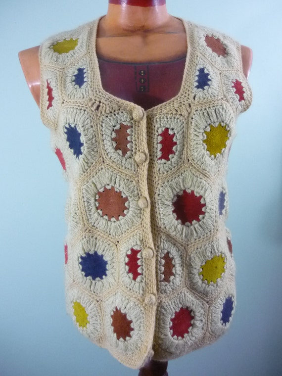 Boho Crocheted and Suede Vest / 1970s Rainbow Colored Waistcoat / Modern Size Medium M to Large L