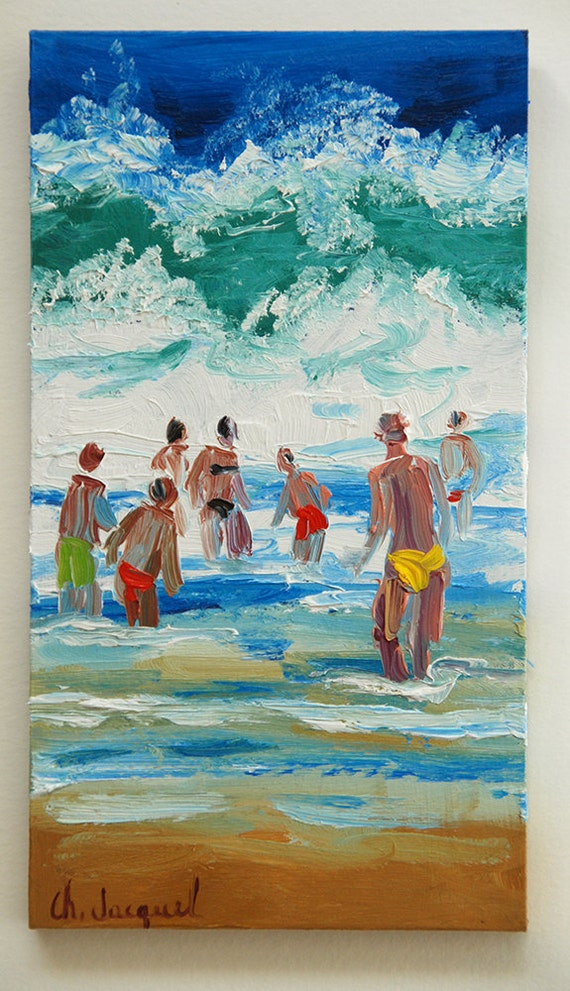 Painting of bathers in waves original oil painting of a for Design your own bathers