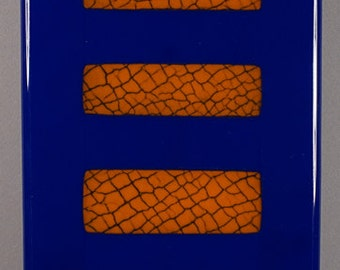 Panel 9,  fused glass, crackle glass insert, wall panel 5 1/2 x 16 1/4 inches