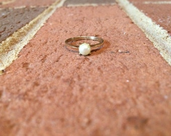 Small Pearl 10k Gold Ring