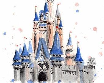 Watercolor Castle Print