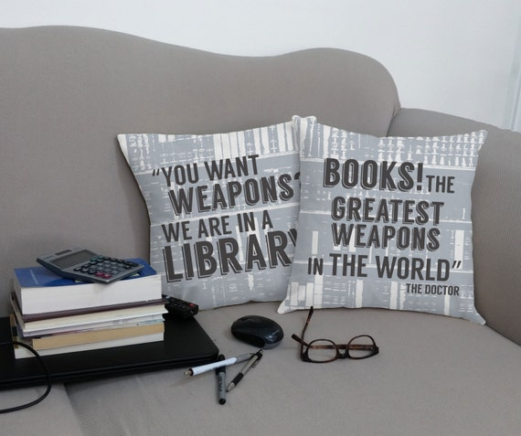 Books Are Weapons Pillows | Doctor Who Gift Guide