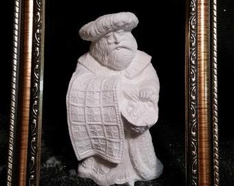 Quilting Santa - Unpainted Ceramic Bisque