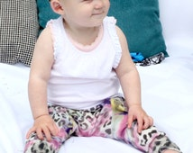 Colourful LEOPARD PRINT harem style baby bottoms with cute matching hairband