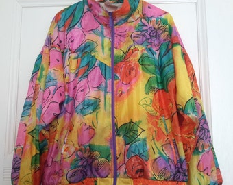 Adidas Vintage track nylon jacket in Flower print