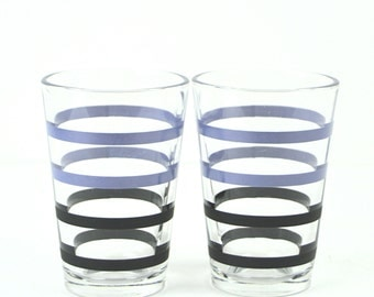 Blue and Black Striped Juice Glasses by Libbey Glass, Set of 2 Tumblers