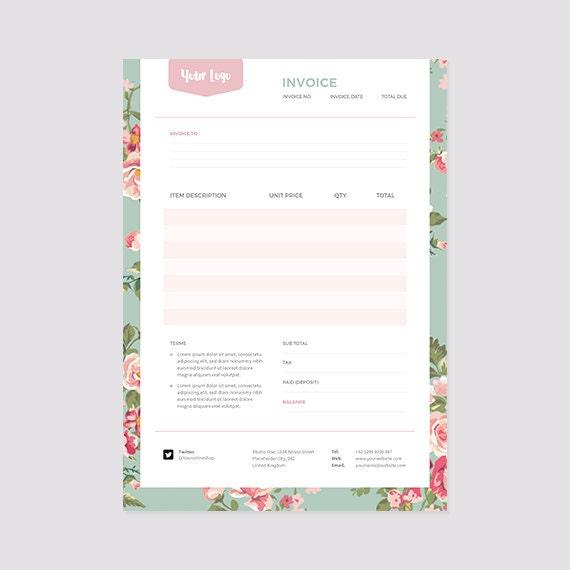 floral invoice template receipt template format photoshop, Invoice templates