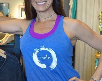 Zen Circle with Smile - Ladies Racerback  Triblend Yoga Activewear tank Style 673.