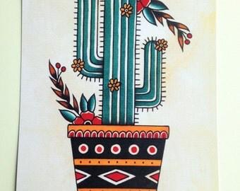 Cactus tattoo flash art print