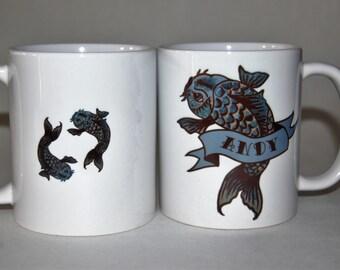 Tattoo Carp mug  personalised by Tattoo Mug Lady Father's Day mug Customised Father's Day gift for him Dad mug