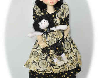 Vintage Bicycle *Pinafore & Dress* Kaye Wiggs MSD BJD dolls. Inc. small cloth doll and hair bow. BJD doll/model *not* included.