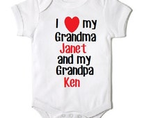 I love my Grandma and Grandpa Onesie for granddaughter/grandson custom baby gifts loves me personalized baby gift niece nephew