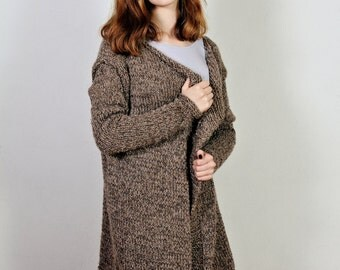 Chocolade Women's knit coat,   Loose knitwear sweater,   Long sleeves,    Chunky Chocolade Sweater,   Alpaca sweater, OOAK,    Ready to ship