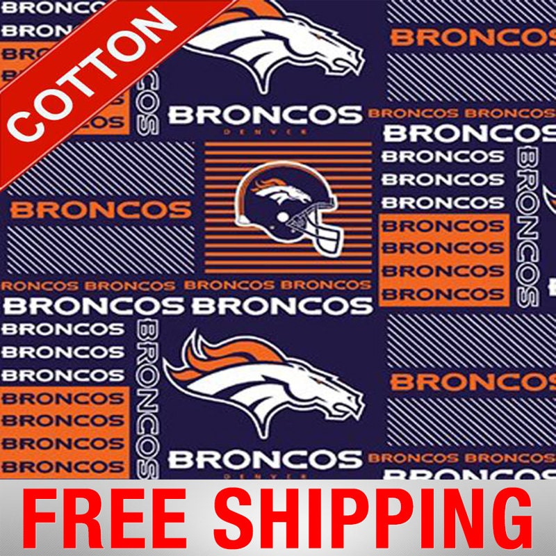 """Denver Broncos Cotton Fabric NFL Style DEN-6422 60"""" Wide"""