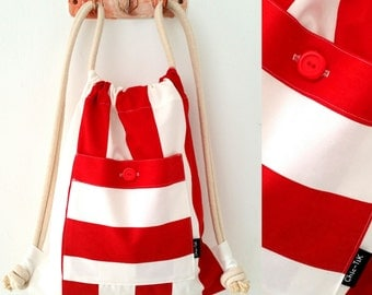 Drawstring bag, Vegan Bag, Shoulder Bag, beach bag, gym bag, canvas bag, red bag, Drawstring backpack, String bag, Cinch bag, gift for her