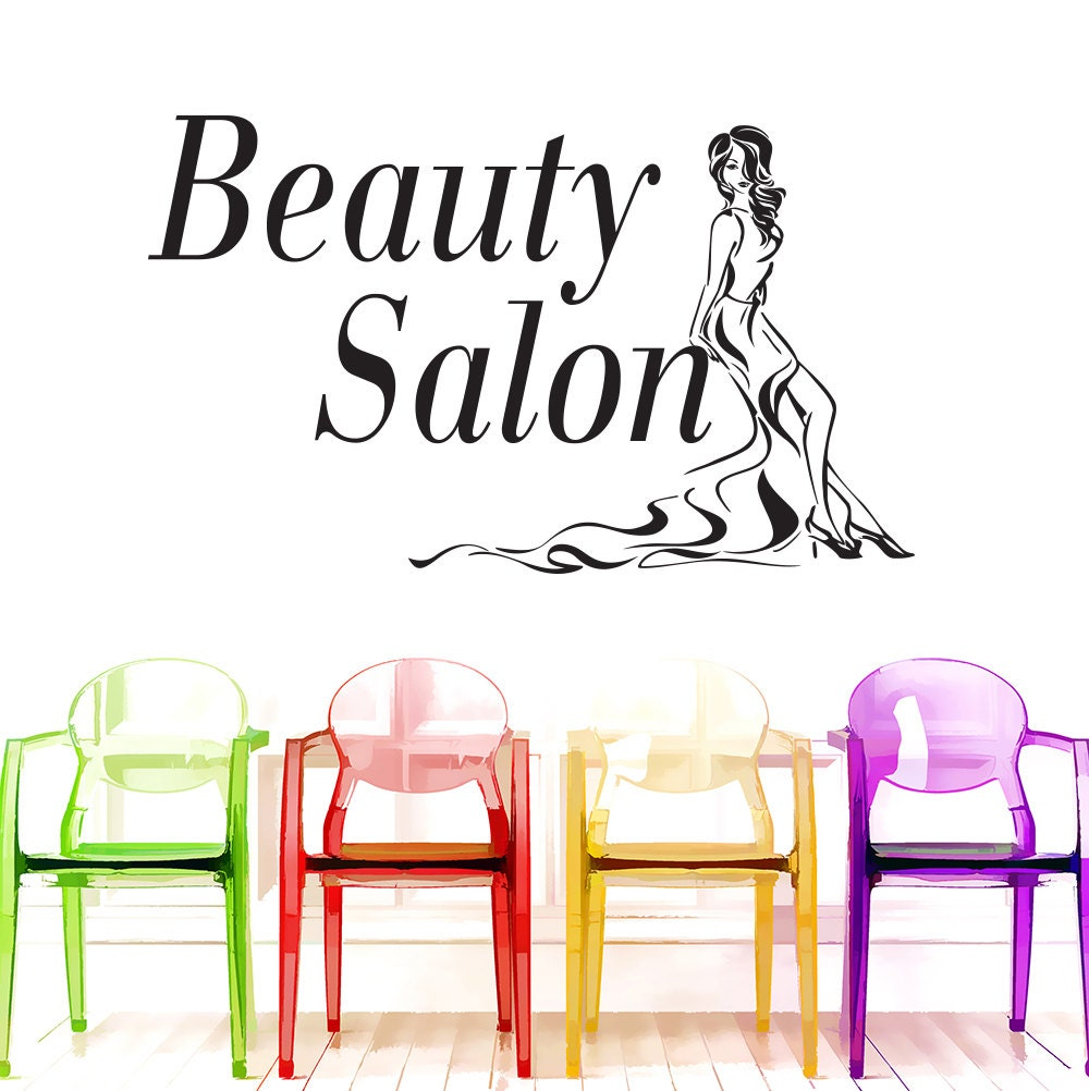 beauty salon decals wall decals girls hairdressing stickers. Black Bedroom Furniture Sets. Home Design Ideas