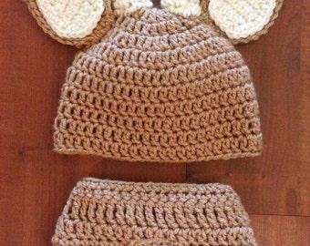Deer outfit, Hat and Diaper Cover, Newborn Deer, 0-3 month Deer, newborn pictures