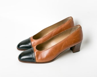 Vintage Spanish Brown Leather Pumps | Stacked Heel | Size 37 | Size 7.5/8 | Pointed Toe