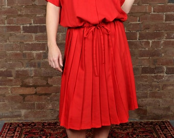 Vintage Red Day Dress Pleated Oversized Blouson Boxy Knee length Size 16