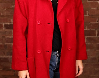 Vintage 90s Red Oversized Wool Coat Double Breasted Size 14