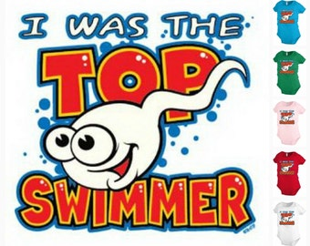 I was the TOP SWIMMER Infant Baby one-piece Bodysuit Snapsuit Girl Boy Funny KP117
