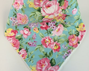 "Shabby Cheeks ""Donna"" Baby Bib in Blue Floral"