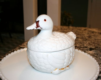Ceramic Duck Bowl With Lid//Duck Tureen With Lid//Cookie Jar//Vintage Bowl With Lid