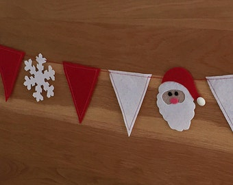 Felt SANTA Snowflake Pennant Banners Christmas Sewing Pattern PDF ePattern Marry CHRISTMAS bunting, Christmas decoration Christmas Appliques