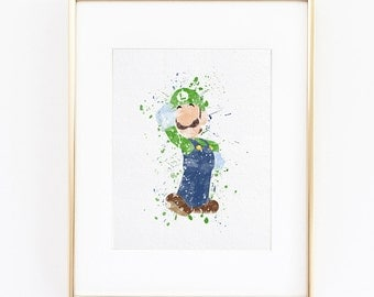 Luigi Super Mario Bros Watercolor silhouette Fine Art Print, high quality poster for wall  kids teen decor