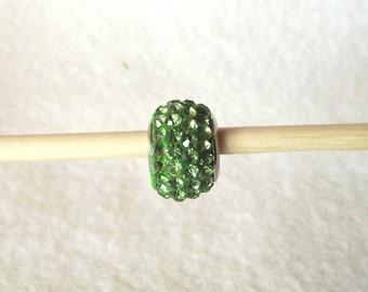 European Charm Bracelet 925 Sterling Silver Green Cubic Zirconia Crystal Bead Z065