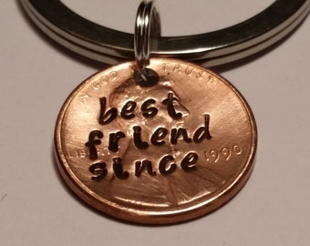 Best Friend Custom Lucky Penny Key Chain Gift, Keychain gift, Gifts for Friend, Birthday Gifts, Unique Gifts, Personalized Gift,Friend Since