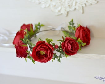 Bridal flower crown adult Roses floral headband Red wedding flower crown Woodland hair wreath Red headpiece Bridal flower halo
