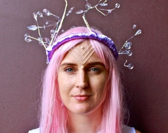 Festival Headpiece / Festival Wear / Headdress / Burning Man / flower crown 'Intergalactic Winter'