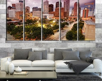 Houston City Skyscrapers Canvas Art, Houston Cityscape Wall Canvas Art Print No:503