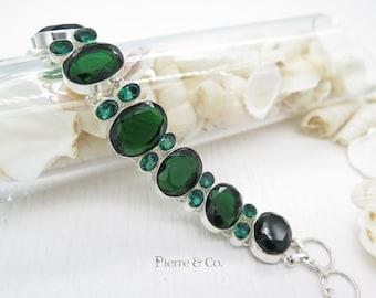 Emerald Quartz Sterling Silver Bracelet