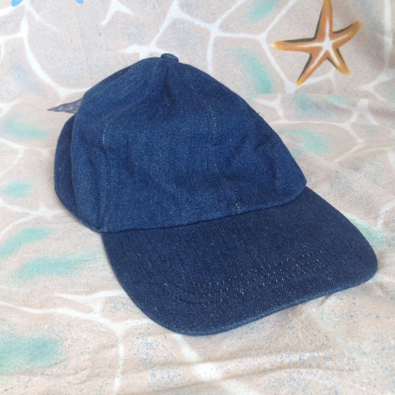 Vintage denim hat 90s snap back elastic back by samediffclothing
