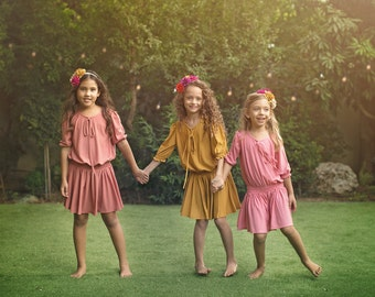 "Pink Girls Dress Sizes 2 to 13 -- The ""Poppet"" Dress in Rose"