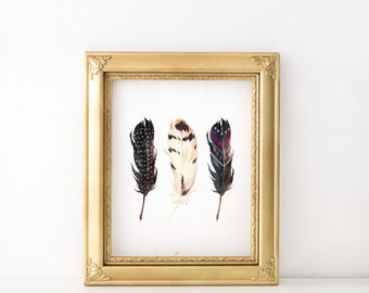 Bohemian feather print - Feather wall decor - Feather art print - Watercolor feather print - Bohemian chic decor - Feather art print -