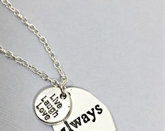 Live laugh love  quote necklace, live laugh love jewelry, friendship jewelry, live laugh love, quote jewelry, gift for friend