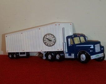 Vintage Semi Truck Clock Hand Made Hand Painted Ceramic Wall Decor Mancave Bar décor