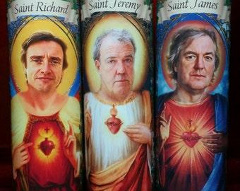 Set of 3 Original Top Gear cast - Richard Hammond, Jeremy Clarkson, James May - Celebrity Saint Prayer Candles