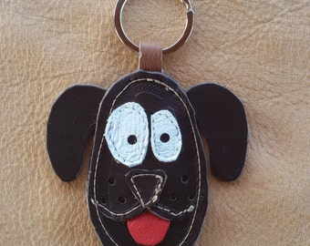 Leather handmade key chain DOG