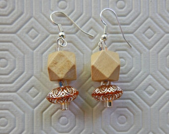 natural wood pendant earrings