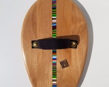 Custom Hardwood Handplane with inlayed recycled resin for Bodysurfing