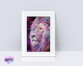 Lion Print, lion art,lion poster, lion wall art, lion king, lion decor, print lion, Modern Minimalist Photo, Lion watercolor, cat art, lion